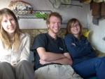 De reizigers: Heleen, Jeremy, Nele.
