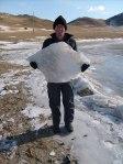 Nick met één van zijn ijsklompen.